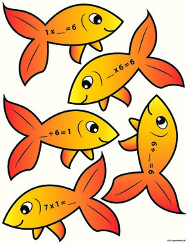 Fact Family Fishing Game - Multiplication and Division - COLORED