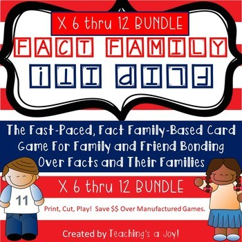 Fact Family Flip It! Bundle:  6's, 7's, 8's, 9's, and 12's!!!!