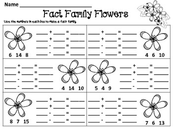 Fact Family Flowers & Recording Sheets