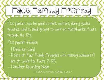Multiplication Fact Family Frenzy