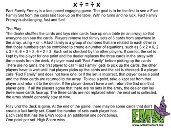 Fact Family Game for Adding, Subtracting, Multiplying, or Dividing