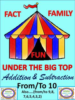 Under the Big Top Fact Family Fun Addition/Subtraction To & From 10 or Less