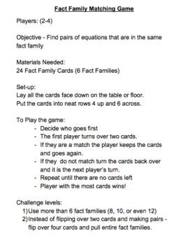 Fact Family Game Freebies