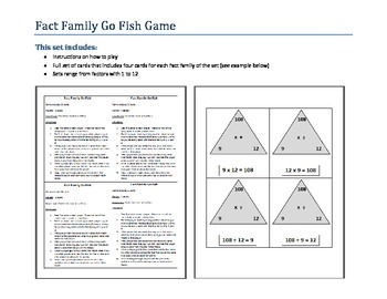 Fact Family Go Fish Bundle - Multiplication Sets 1 - 12