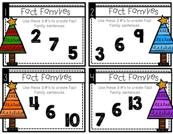 Fact Family :Holiday Task Cards