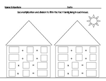 Fact Family House: Multiplication and Division Worksheet