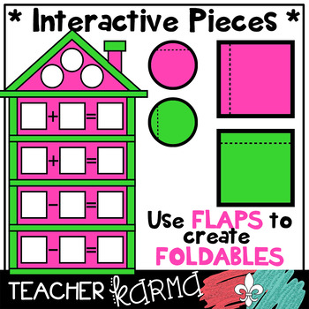Fact Family House Clipart KIT #2 * Foldables * NEON Colors