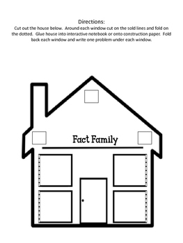 Fact Family House Foldable. Interactive Notebook. Math Center