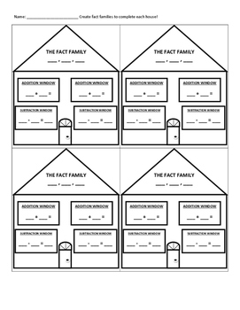 Fact Family House Practice Worksheet