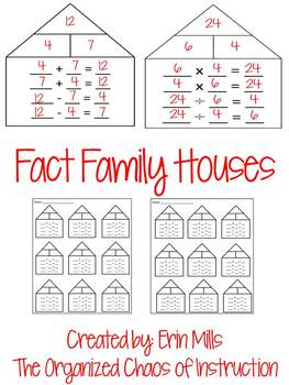Fact Family Houses-9 Per Page (add, subtract, multiply, divide)