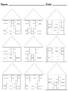 Fact Family House: Addition and Subtraction Worksheet 3x3