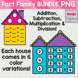 Fact Family Houses BUNDLE: Addition, Subtraction, Multipli