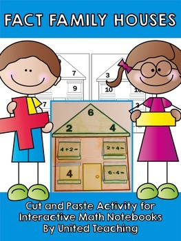 Fact Family Barn- Cut and Paste- Free Worksheets by Janetta Hayden