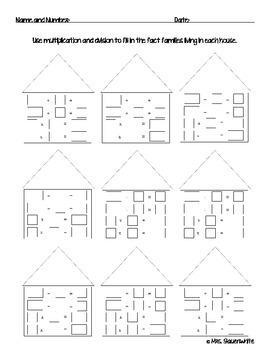 Fact Family House: Multiplication and Division 3-by-3 Worksheet