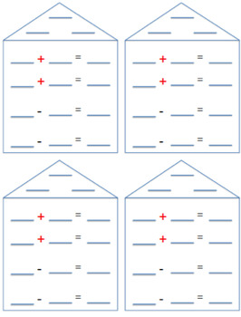 Fact Family Houses Sums to 20