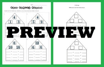Fact Family Houses - practicing the relationship between addition & subtraction