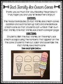 Fact Family Ice Cream Cones