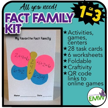 Fact Family Lessons - Activities, worksheets, task cards, games, and foldable