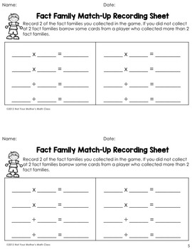 Fact Family Match Combo (Multiples of 2, 5 & 10)