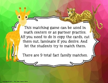 Fact Family Matching Game- Multiplication/Division