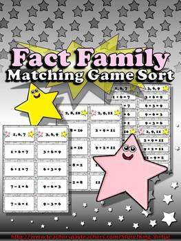 Fact Family Matching Sort Game - King Virtue