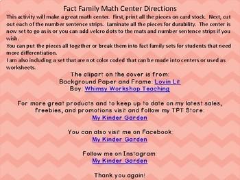 Fact Family Math Center 0-5