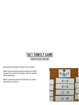 Fact Family Math Center Activity