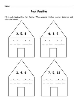 Fact Family Math Worksheet