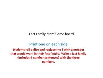 Fact Family Maze Game board