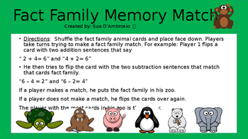 "Fact Family Memory Match  ""Put Them In the Zoo!"""