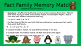 """Fact Family Memory Match  """"Put Them In the Zoo!"""""""