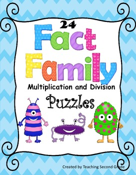 Fact Family Multiplication / Division Facts 24 Puzzles Centers  Actitivities