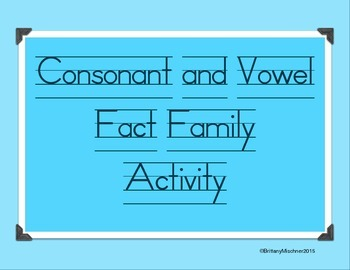 Fact Family Name Activity