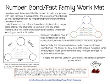 Fact Family Number Bond Workmats