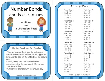 Number Bonds and Fact Families:  Addition and Subtraction Facts to 10