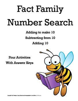 Fact Family Number Search - Tens