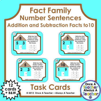 Fact Family Number Sentences:  Addition and Subtraction Facts to 10