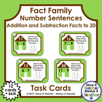 Fact Family Number Sentences:  Addition and Subtraction Facts to 20