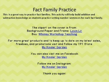 Fact Family Math Practice 0-10