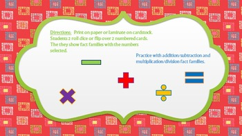 Fact Family Practice- Addition/Subtraction/Multiplication/Division