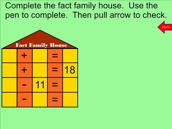 Fact Family Practice - Addition and Subtraction - Smartboard