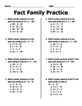 Fact Family Practice (Multiplication and Division) Practice