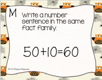 DIGITAL and PAPER Halloween Fact Family Task Cards