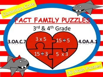 Fact Family Puzzles (3rd - 4th Grade) Freebie