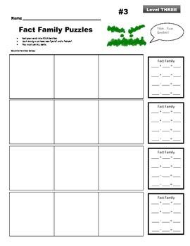 Fact Family Puzzles: Level Three
