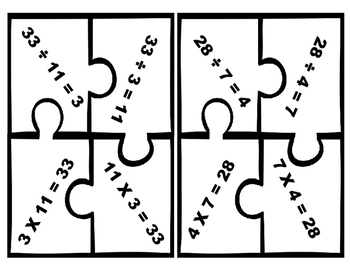 Fact Family Puzzles (Multiplication and Division)