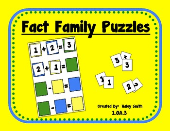 Fact Family Puzzles Within 10 FREEBIE