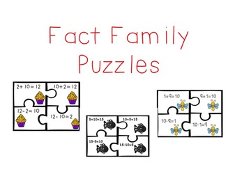 Fact Family Puzzles for Numbers 10-18