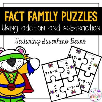 Fact Family Puzzles for addition and subtraction featuring superhero bears!