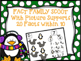 Fact Family Scoot - Winter Animals Addition and Subtraction Scoot within 10